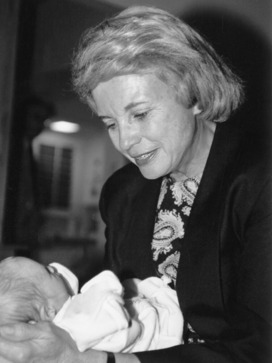 O'Connor with her first grandchild.