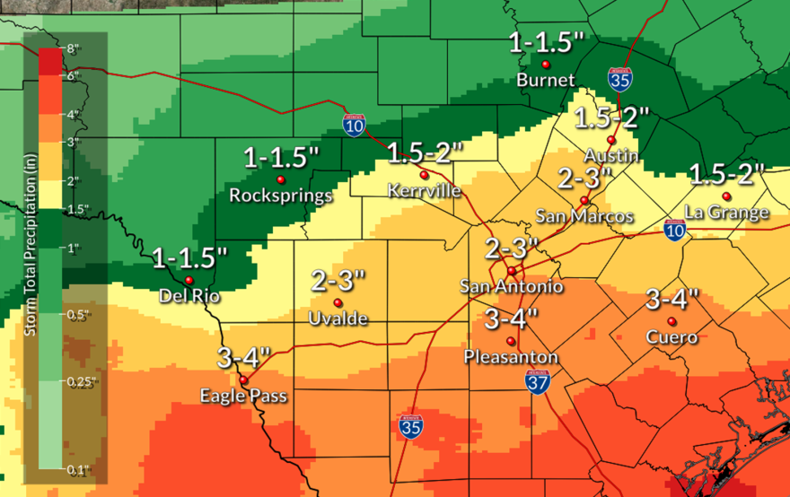 Up to three inches of rain will be possible in the Austin area over the weekend, just enough to reverse a drought.