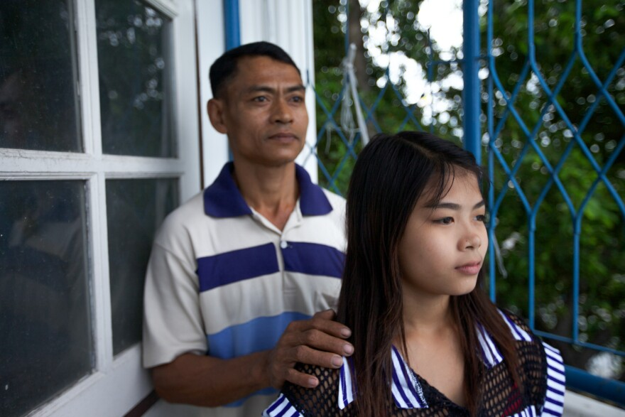 "Burmese migrant Thazin Mon Htay and her father Ko Ngwe Htay were trafficked to Thailand to peel shrimp. They worked 16-hour shifts, seven days a week, for less than $10 a day, Ko Ngwe <a href=""http://www.pbs.org/newshour/bb/world-july-dec12-thaishrimp_09-20/"">told</a> PBS NewsHour."