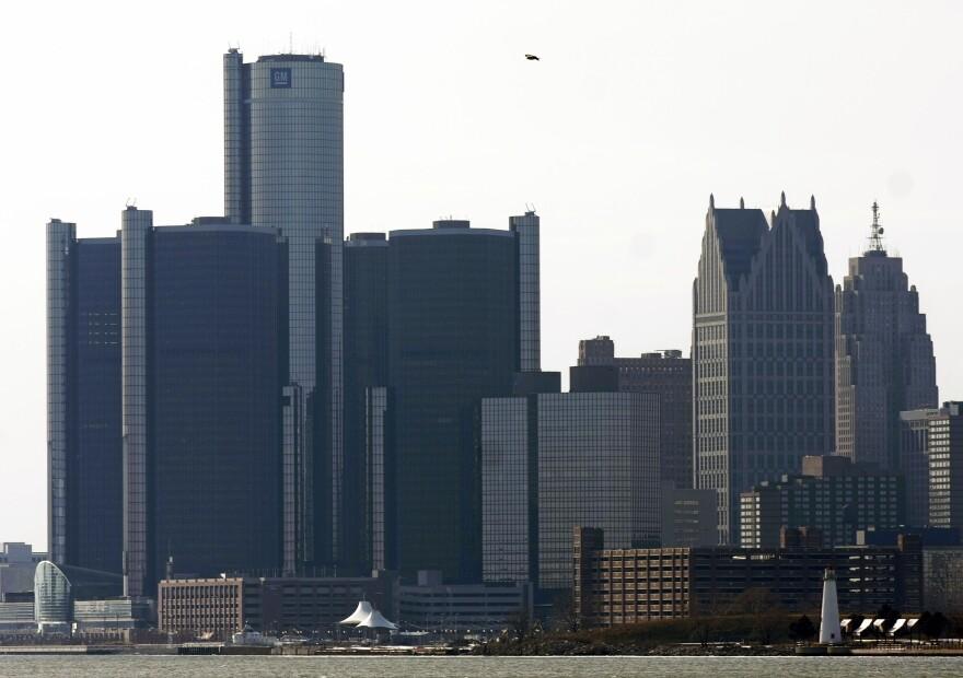 The General Motors world headquarters building dominates the Detroit skyline.