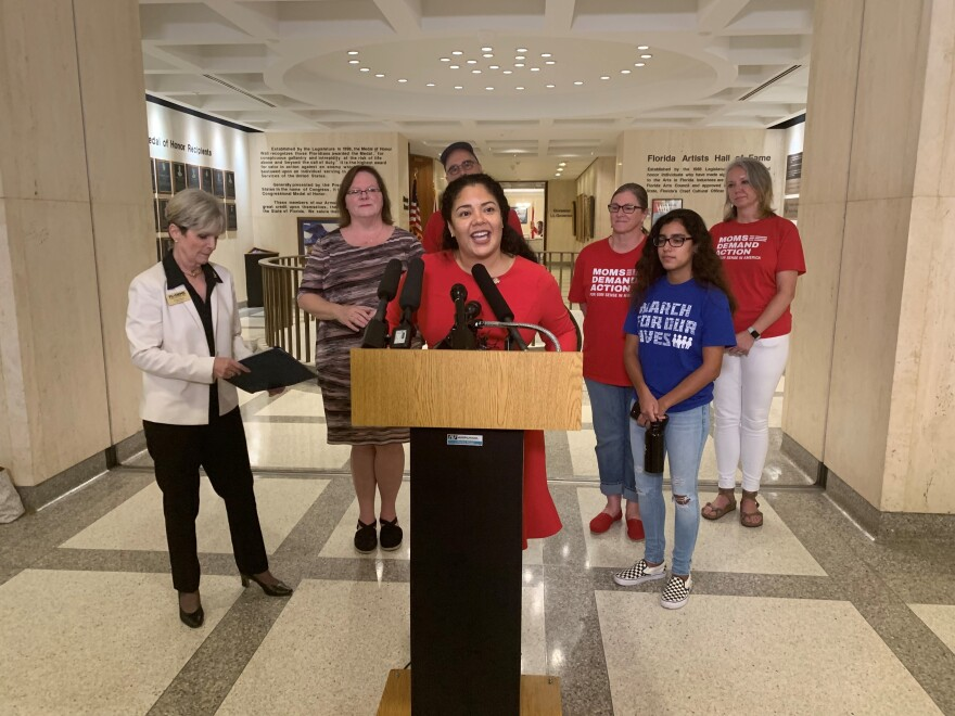 Hialeah Democratic Representative Cindy Polo speaking against attempts to block an assault weapons ban.