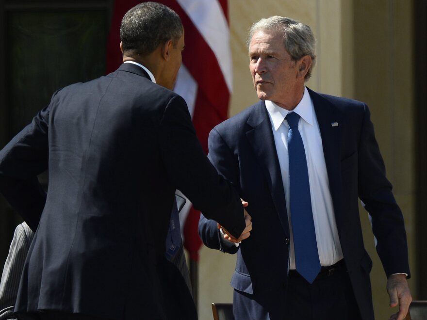Former President George W. Bush and his successor, President Obama, at the April 25 dedication of Bush's library on the campus of Southern Methodist University in Dallas.