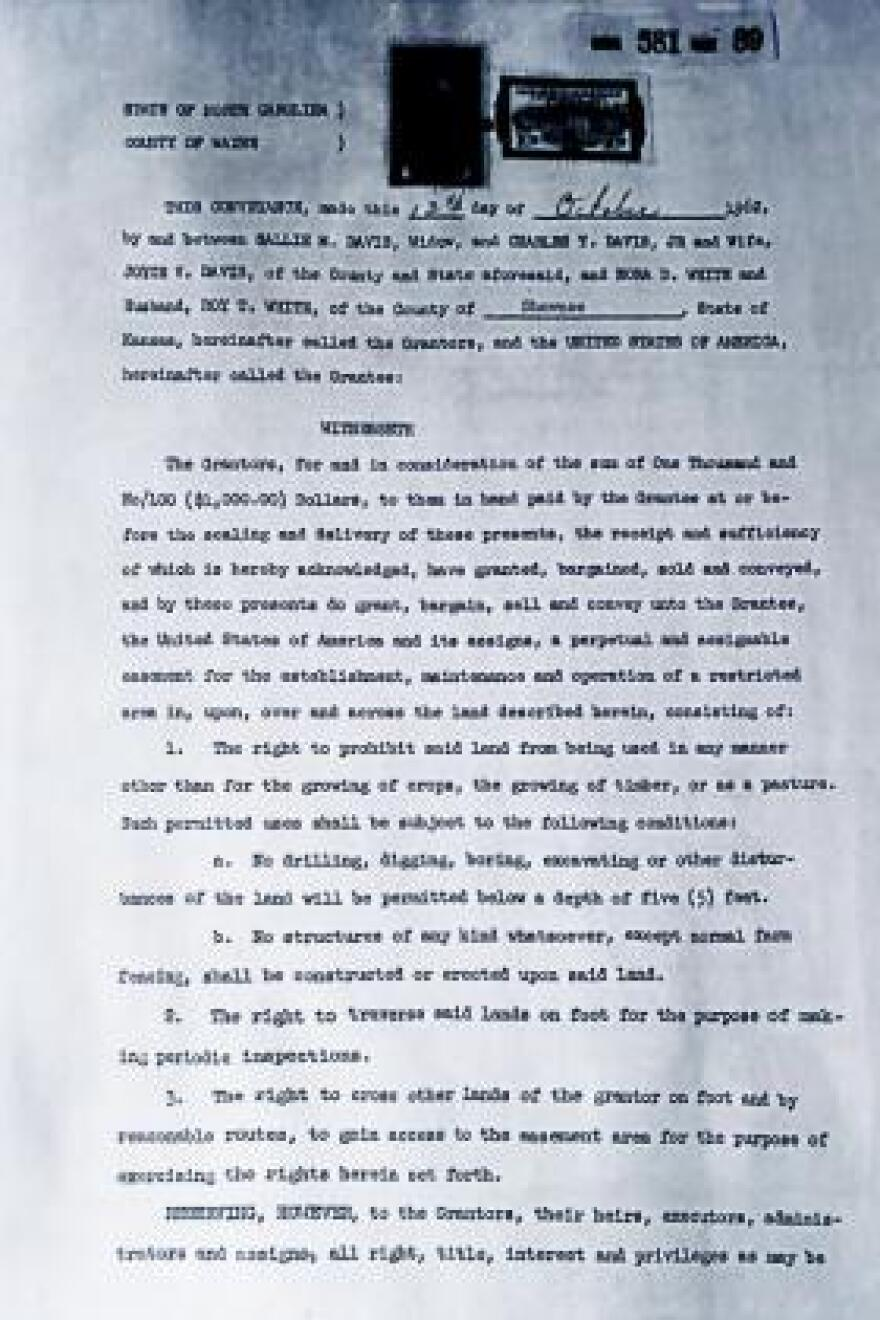 A 1962 property deed grants the U.S. government a permanent easement to a plot of land near Goldsboro, N.C., where an atomic weapon remains buried in the soil.