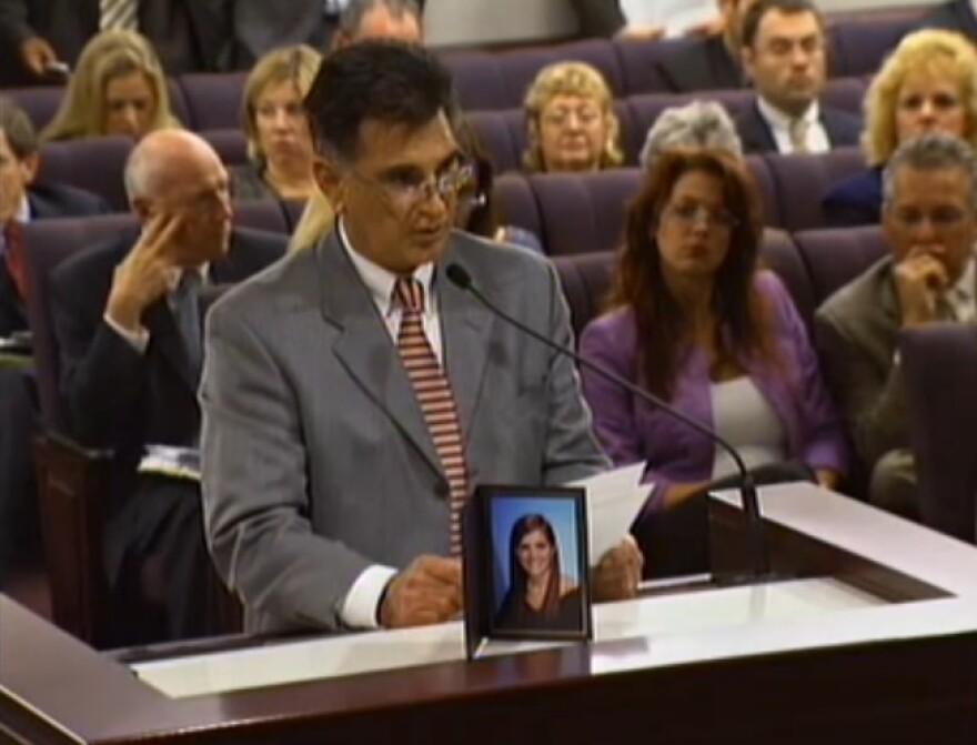 Dr. Robert Cowie, Feb. 22, 2011, speaking to lawmakers against SB 234. His daughter, an FSU student, was killed at a frat house just weeks before. Cowie's testimony along with then-Sen. Thrasher helped defeat the bill.