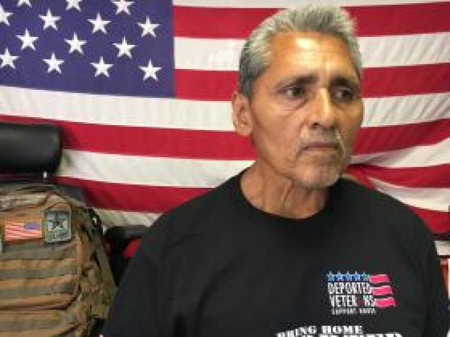 Jesus Juarez, 61, a Marine veteran, was deported after a drug possession conviction in San Diego in 1997. He said a doctor in Tijuana told him he needed prosthetics for an injury sustained during military training, but he's still trying to access health benefits.