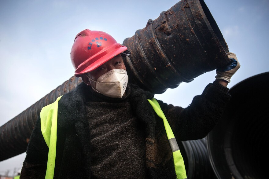 A construction worker on the job, photographed on Jan. 28.