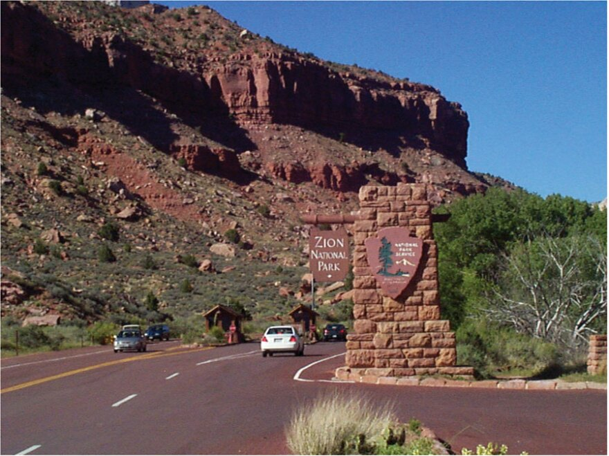 Photo of Zion National Park entrance.