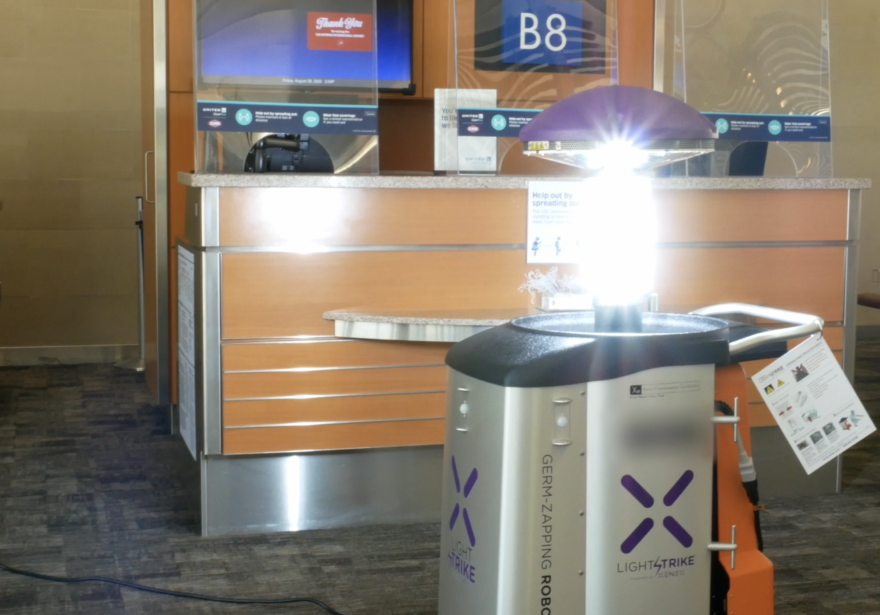 The Xenex LightStrike robot fires bursts of intense UV light to destroy viruses and bacteria. The San Antonio International Airport recently purchased the robot.