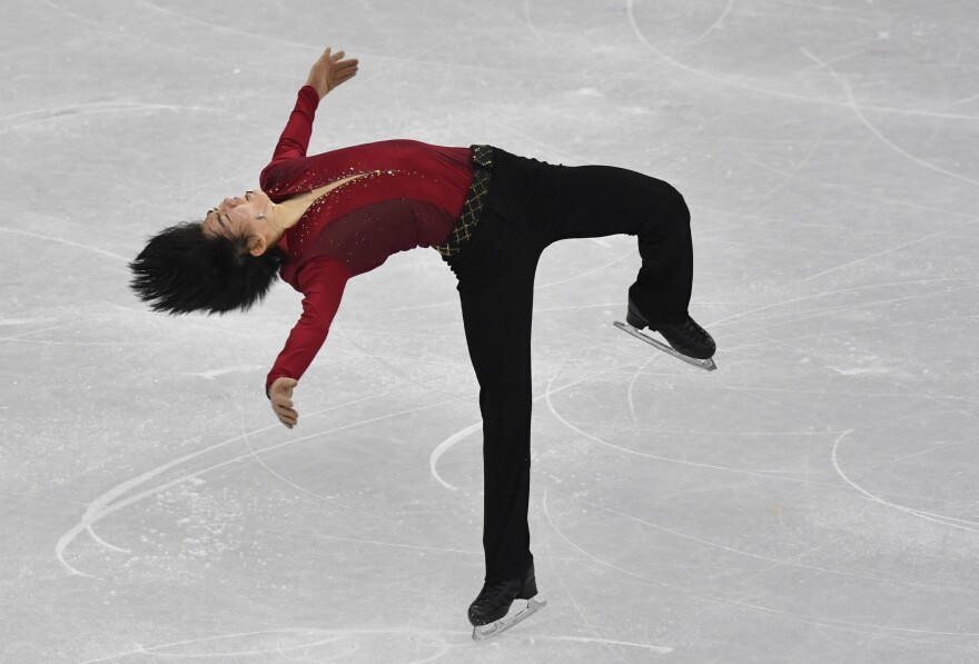 South Korea's Cha Jun-hwan competes in the men's single skating short program. Figure skaters need warmer, thicker, more supple ice so they can dig in for jumps.