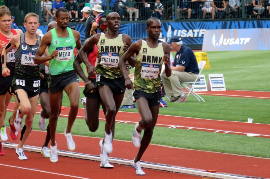 Two members of the U.S. Army lead the pack in the 5,000 meters at the U.S. Olympic Trials in July in Eugene, Ore. Shadrack Kipchirchir (right), did not make the team in the 5,000 but did qualify in the 10,000. Paul Chelimo (second from right), qualified in the 5,000 and won a silver medal in Rio on Saturday night.