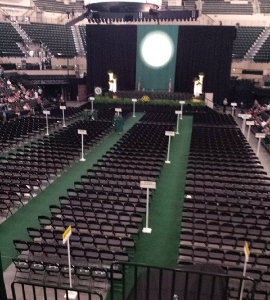 The calm before the storm, as the Sun Dome sits empty between ceremonies.