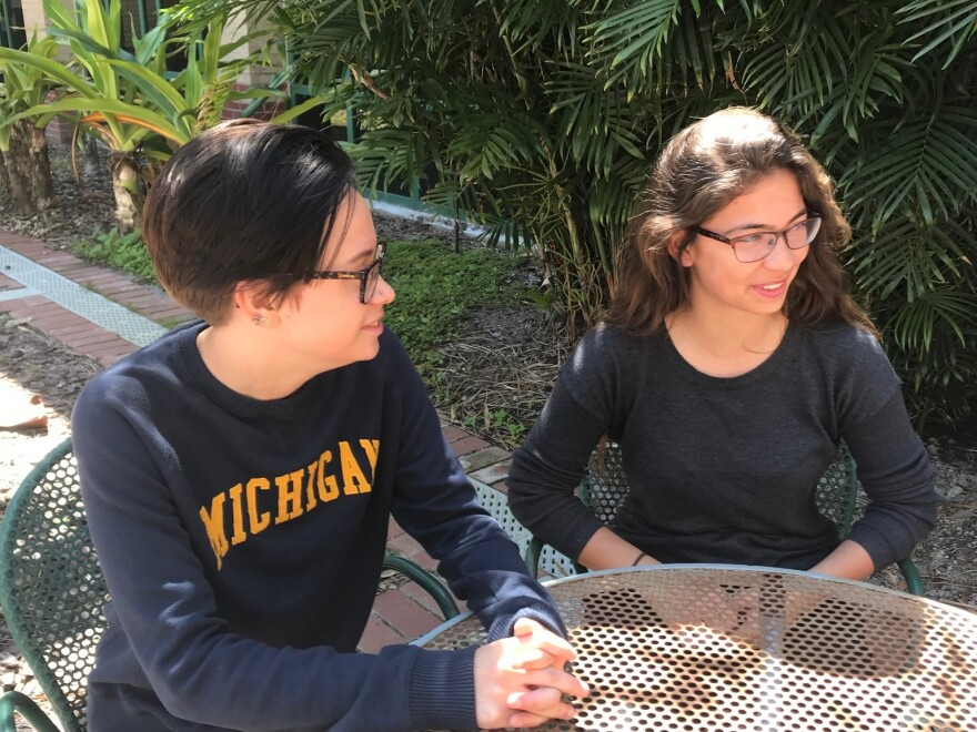 Ava Borchuck, left, and Remy Fritz were two of the students who helped organize a walkout Tuesday at St. Petersburg High.