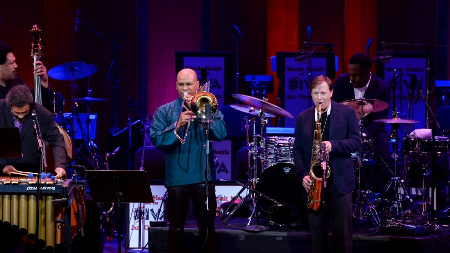 James Genus (bass), Steve Nelson (vibraphone), Robin Eubanks (trombone), Chris Potter (saxophone), and Nate Smith (drums) perform in honor of Dave Holland at the 2017 NEA Jazz Masters Tribute Concert on April 3, 2017 at the John F. Kennedy Center for the Performing Arts.