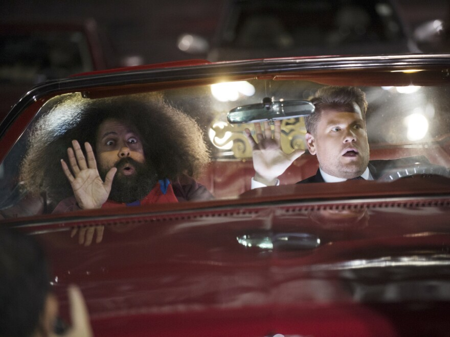 Reggie Watts and Corden tape the opening sequence for <em>The Late Late Show with James Corden.</em>