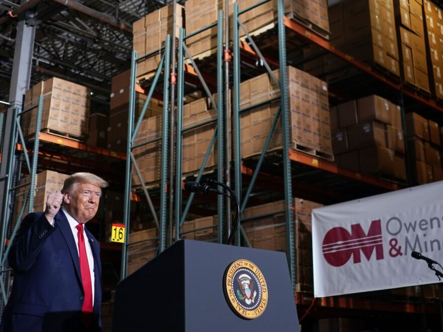 President Trump speaks at medical supply distributor Owens and Minor Inc. in Allentown, Pa.