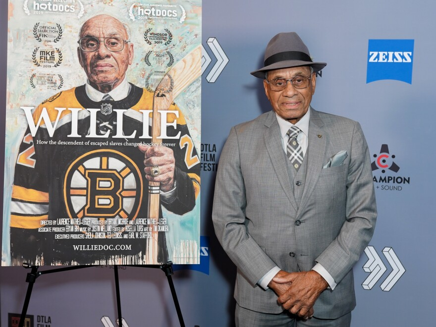 Willie O'Ree at a screening of <em>Willie, </em>a documentary about him, at the Downtown Los Angeles Film Festival on October 2019. O'Ree was inducted into the Hockey Hall of Fame in November 2018.