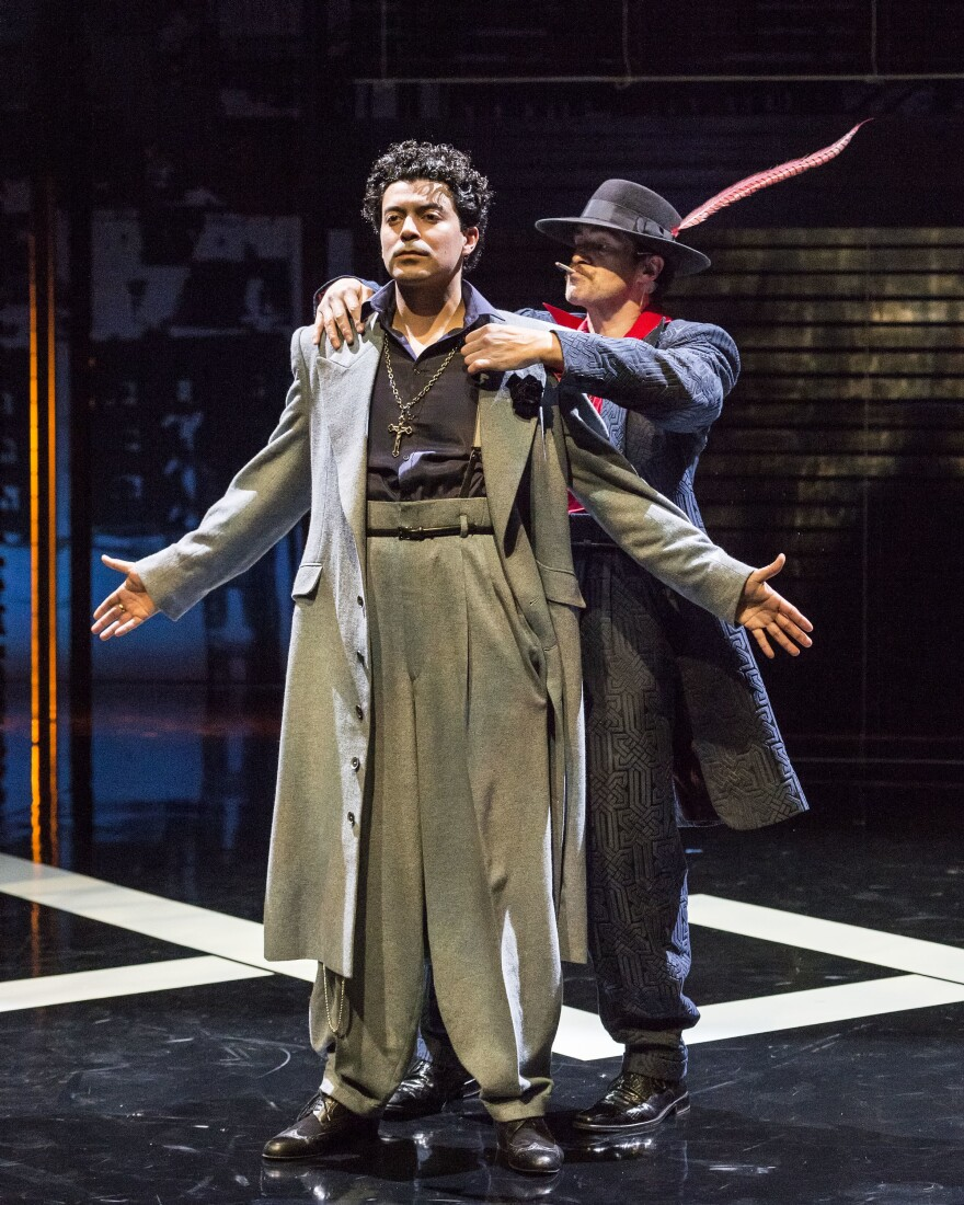 """In the revival of """"Zoot Suit,"""" Demian Bichir plays The Pachucho, a kind of inner voice to Henry Reyna, played by Matias Ponce."""
