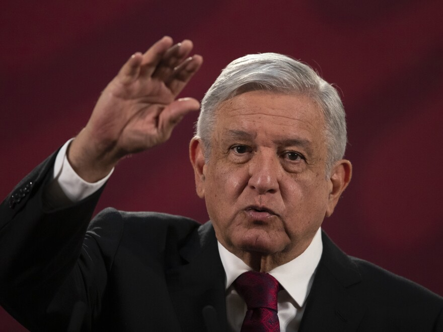 "Mexico's President Andrés Manuel López Obrador, shown here on July 13, has formed a new National Guard force but said when it comes to the drug cartels, ""We will fight them with intelligence and not force. We will not declare war."""