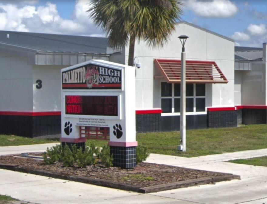Palmetto High School building and marquee