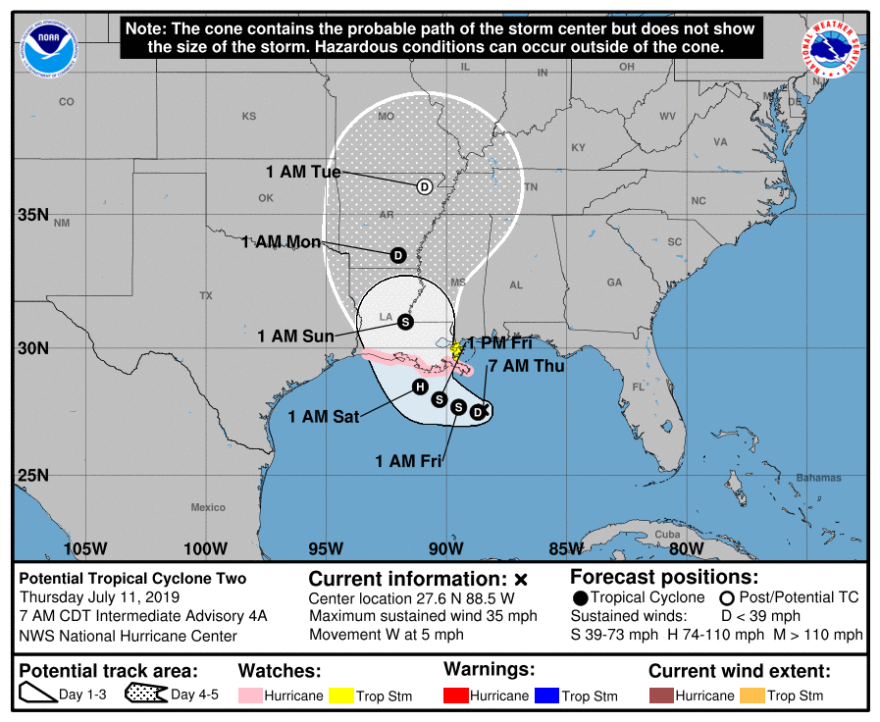 The Gulf of Mexico disturbance that dumped as much as 8 inches (20 centimeters) of rain in just three hours over parts of metro New Orleans was forecast to strengthen into a tropical depression Thursday, then a tropical storm called Barry Thursday night,