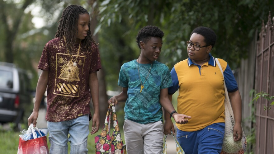 Michael Epps, Alex Hibbert and Shamon Brown Jr. play three boys who have to dodge gang violence on their way to school in <em>The Chi</em>.