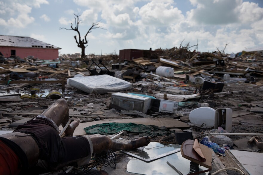 Bodies lay in the debris left by Hurricane Dorian, which decimated Marsh Harbour on Great Abaco Island in the Bahamas on Sept. 6. The Mudd, an immigrant shantytown in Marsh Harbour, was home to about 8,000 Haitians, some of whom have lived in the area for several generations.