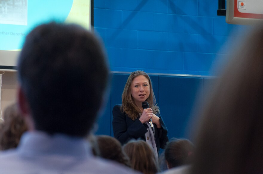 Chelsea Clinton speaks to students and parents at Saul Mirowitz Jewish Community School in Creve Coeur Friday, April 7, 2017.