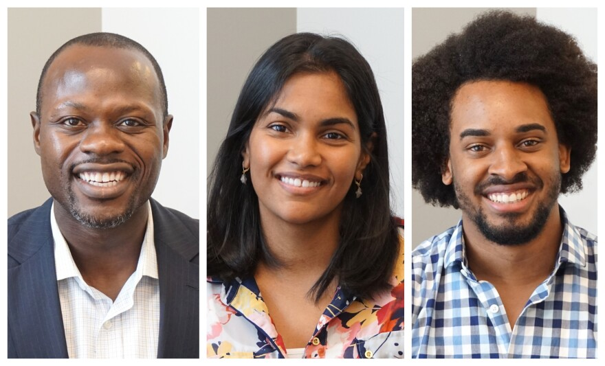 Forward Through Ferguson catalysts (from left) Yinka Faleti, Karishma Furtado and David Dwight discussed their organization's newly released assessment of progress toward racial equity in the St. Louis region.