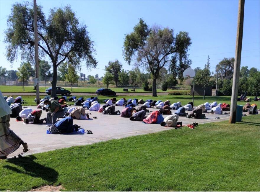 Muslims praying in Fort Morgan.