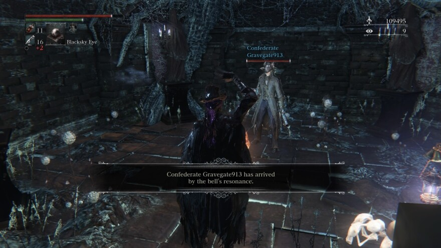 """In <em>Bloodborne</em>, if you purchase online cooperative play, you can summon """"Confederates"""" and """"Cooperators"""" to assist you — but they can only communicate through gestures."""