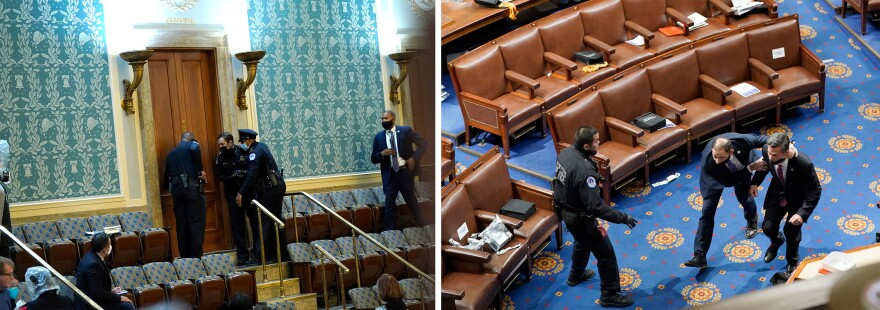 Left: U.S. Capitol Police draw their guns as protesters attempt to enter the House chamber. Right: Members of Congress run for cover as protesters try to enter the House chamber.