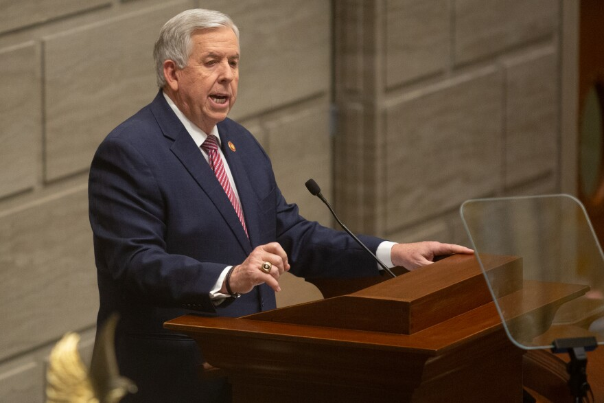Missouri Governor Mike Parson addresses senators and an audience gathered in the view gallery during his State of the State address on Wednesday, January 27, 2021, in the Senate Chambers of the Missouri State Capitol in Jefferson City.