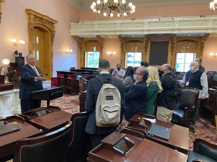 House Speaker Larry Householder (R-Glenford) gestures during a socially-distanced gaggle with reporters after House session.