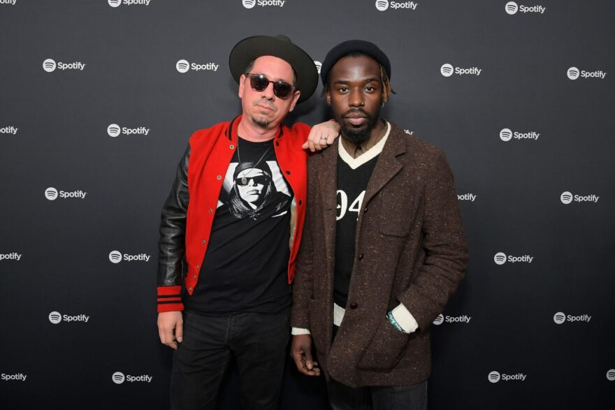 "Adrian Quesada and Eric Burton of music group Black Pumas attend1 Spotify Hosts ""Best New Artist"" Party at The Lot Studios in Los Angeles, California."