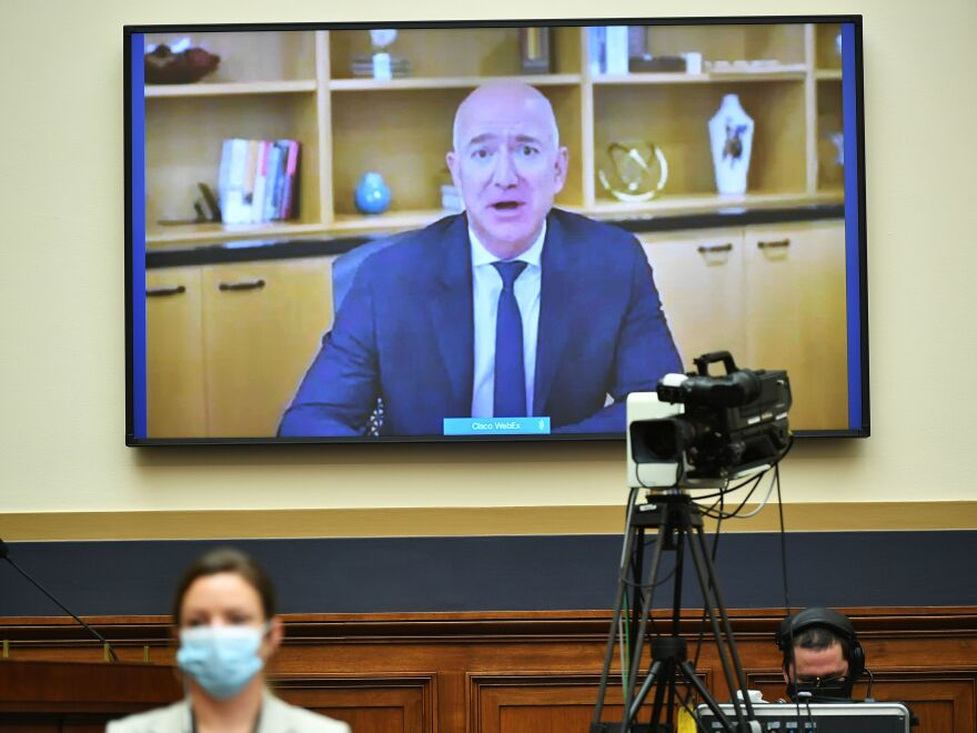 Amazon CEO Jeff Bezos testifies Wednesday via video before the House Judiciary antitrust subcommittee. The hearing also featured the heads of Apple, Facebook and Google.