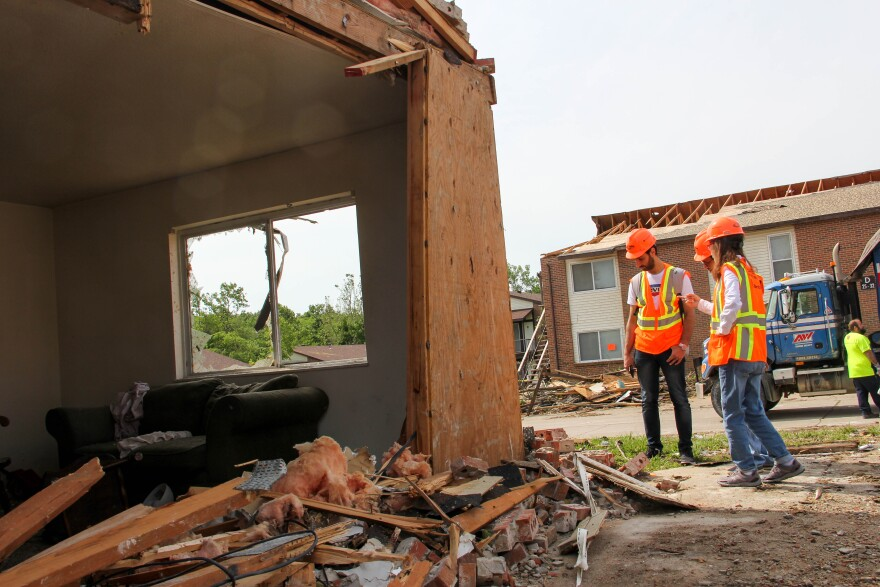 Missouri S&T engineering researchers inspect a damaged apartment building in Jefferson City in May 2019.