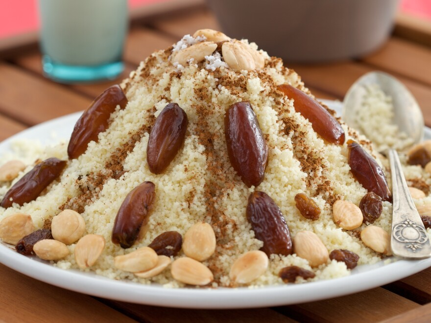 Sweet couscous is popular across the Maghreb. It is generally served with <em>leben</em>, a buttermilk-like fermented drink.