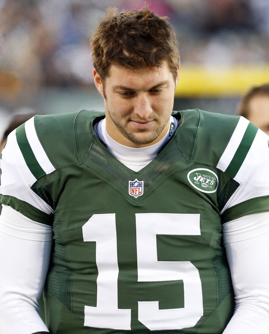 He'll have to find a new team now: Then-New York Jets backup quarterback Tim Tebow on the sidelines during a game last December. The team cut him from its roster on Monday.