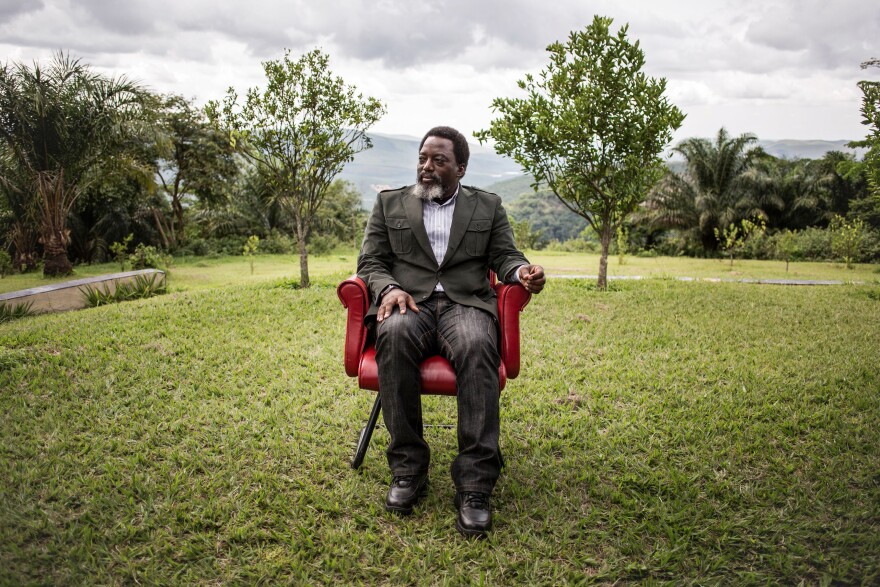 Joseph Kabila, the outgoing president of the Democratic Republic of the Congo, sits in a garden at his personal ranch on Monday.