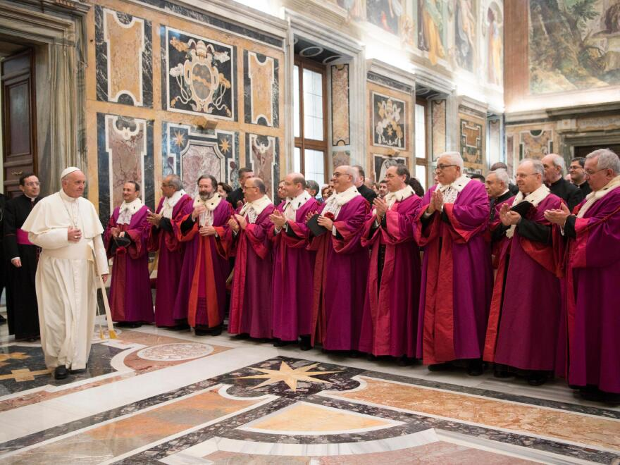 Pope Francis meets members of the Roman Rota, the supreme Tribunal of the Holy See, at the Vatican on Monday.