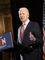 "Former Vice President Joe Biden at a press conference in Wilmington, Del., in mid-March. His bid this week to allow 60-year-olds to get Medicare ""reflects the reality,"" he says, ""that, even after the current crisis ends, older Americans are likely to find it difficult to secure jobs."""