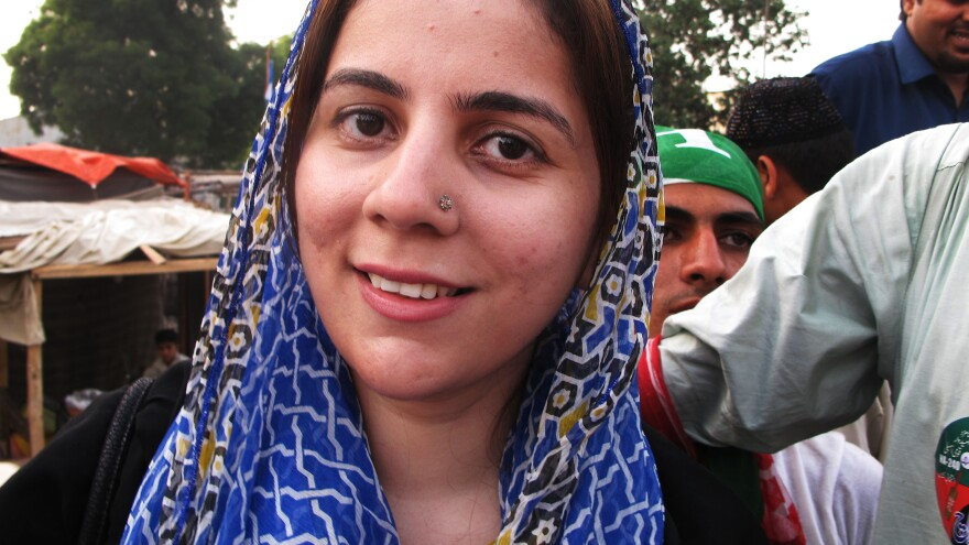 One of the few women competing in Pakistan's parliamentary election on Saturday is Naz Baloch, 33, a first-time candidate. She's the daughter of a politician, but is running for a different party than her father.
