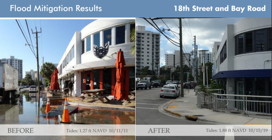 Before and after images show that even with higher tides, the new raised roads in Miami Beach's Sunset Harbour neighborhood stay dry.