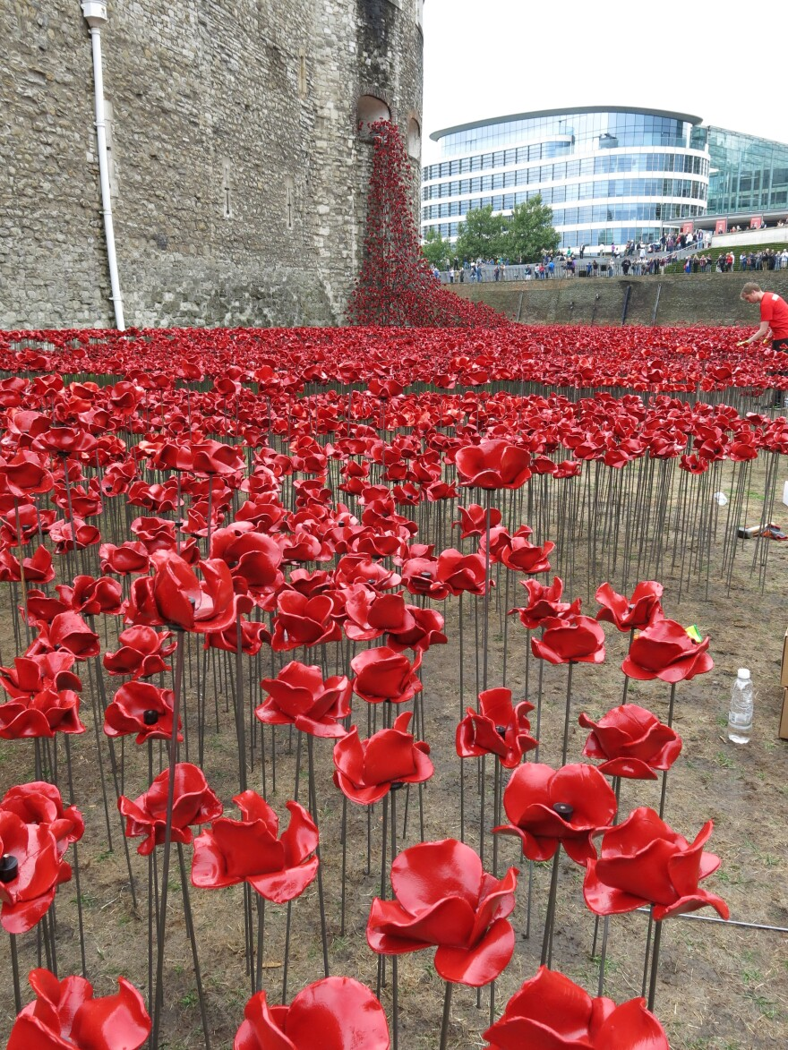 The ceramic poppies at the Tower of London are handmade; each one is unique.