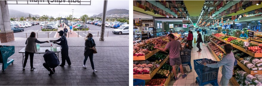 Left: Security guards dispense hand sanitizer to shoppers entering a mall in the suburb of Noordhoek, Cape Town. Right: shoppers select fresh fruit and vegetables.
