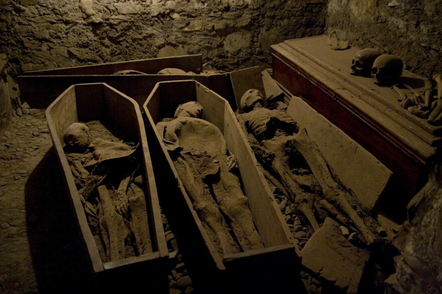 St Michan's Church in Dublin, where vandalized mummies have been discovered, has a series of crypts.