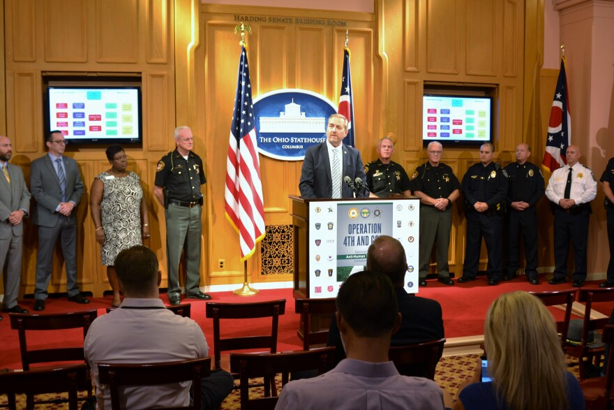 """Ohio Attorney General David Yost adresses members of the press during a press conference on a sting operation, """"Operation Fourth and Goal,"""" on human trafficking. Ohio Statehouse, Columbus, Ohio. Friday, Sep. 13, 2019."""