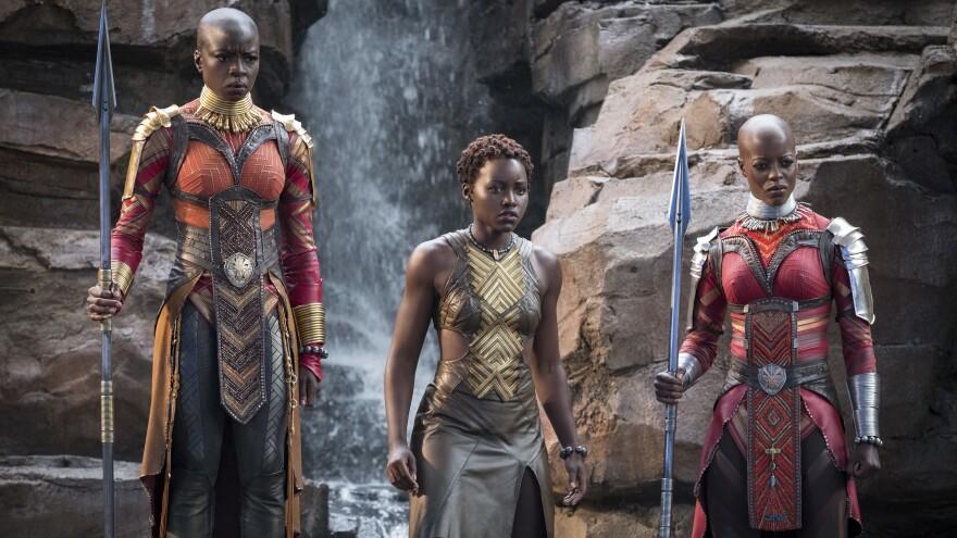 L-R: Okoye (Danai Gurira), Nakia (Lupita Nyong'o) and Ayo (Florence Kasumba) in Marvel's <em>Black Panther</em>.