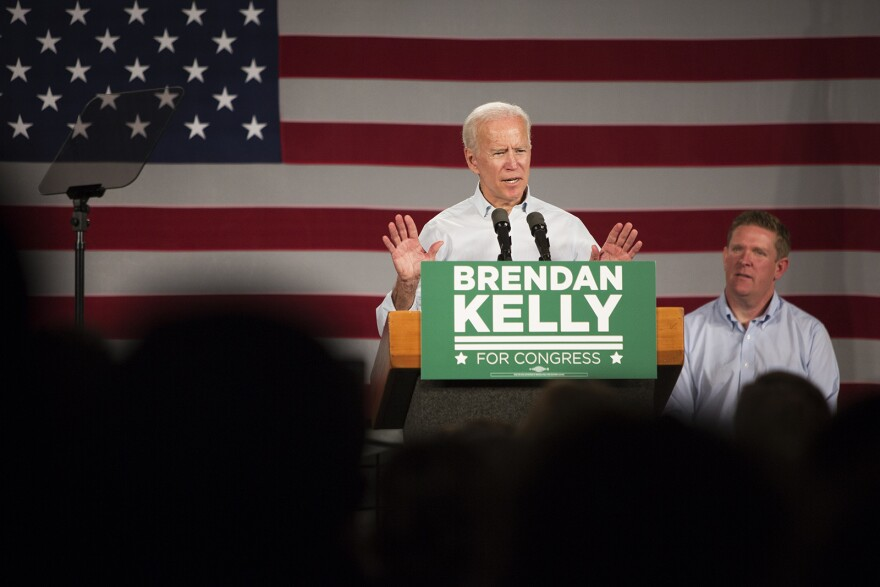 Former Vice President Joe Biden speaks at a campaign rally at Iron Workers Local 392 in East St. Louis. Oct. 31, 2018