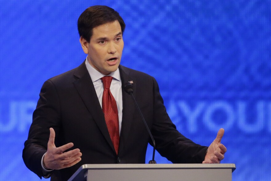 Sen. Marco Rubio, R-Fla., answers a question during the eighth Republican presidential primary debate hosted by ABC News at St. Anselm College on Saturday.